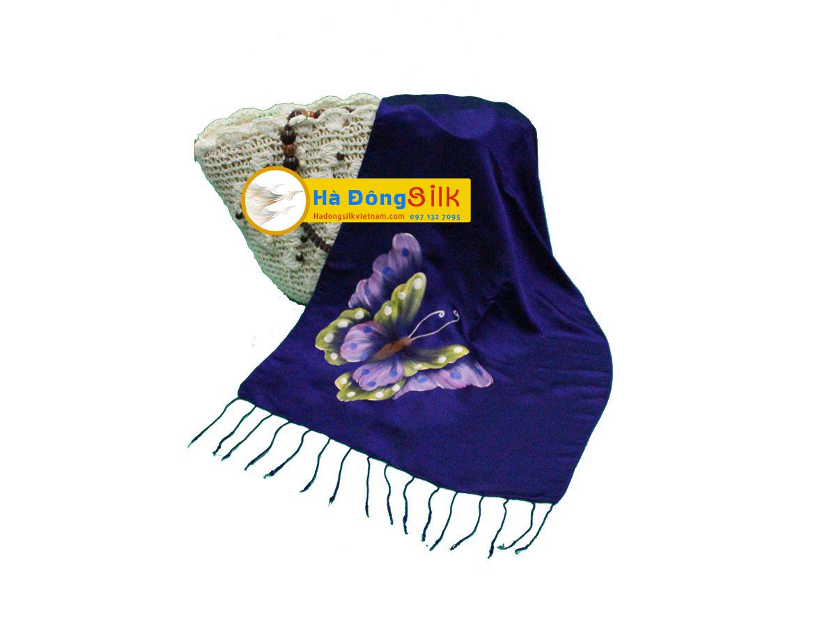 Khăn choàng cổ tím vẽ bướm MNV-KL73