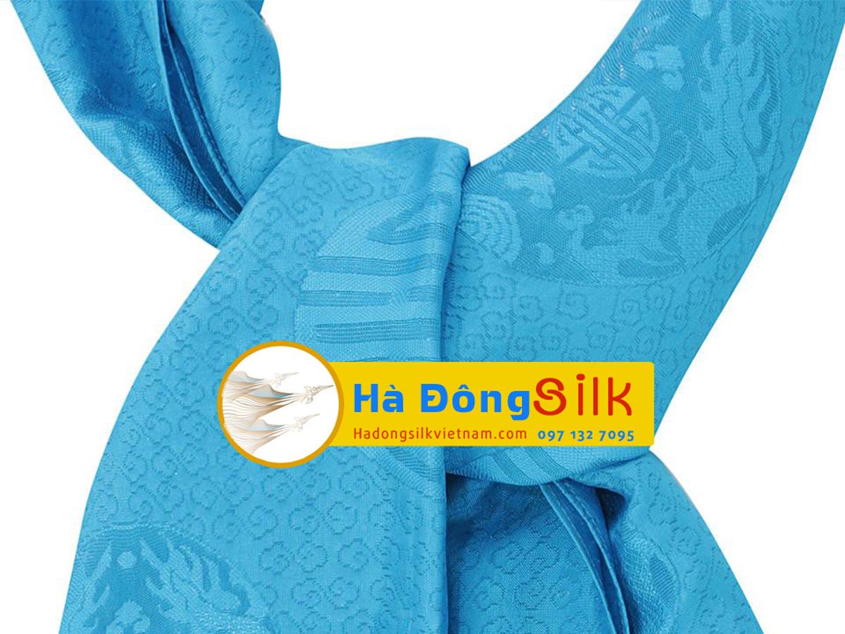 Khăn choàng cổ Hà Đông họa tiết vân xanh chữ Thọ MNV-KL90180