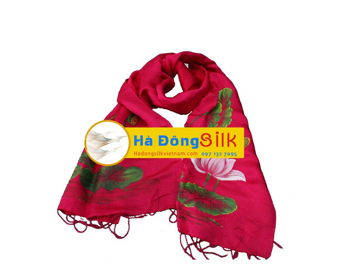 khăn choàng cổ hồng vẽ sen