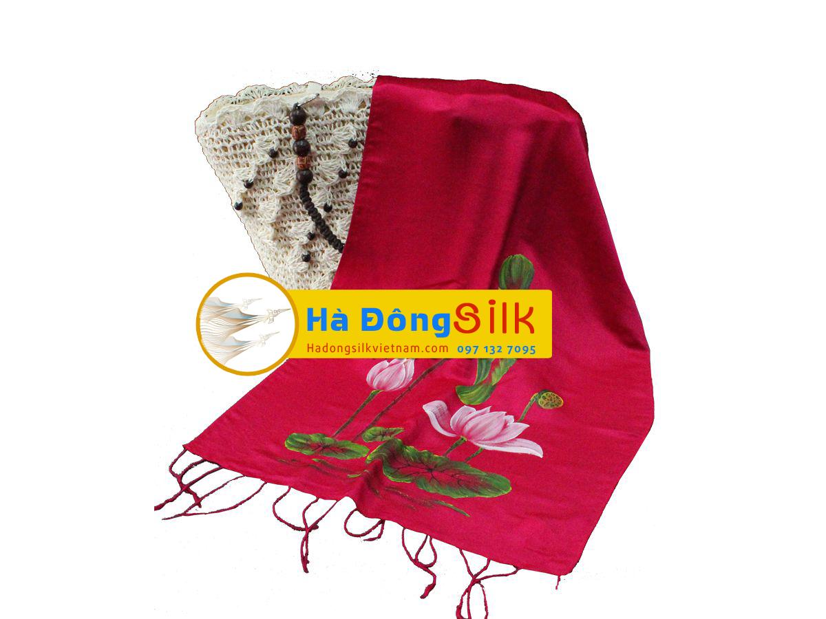 Khăn choàng cổ hồng vẽ sen MNV-KL72