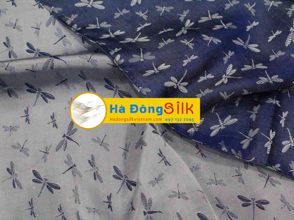 khăn choàng cổ tím xanh vẽ chuồn