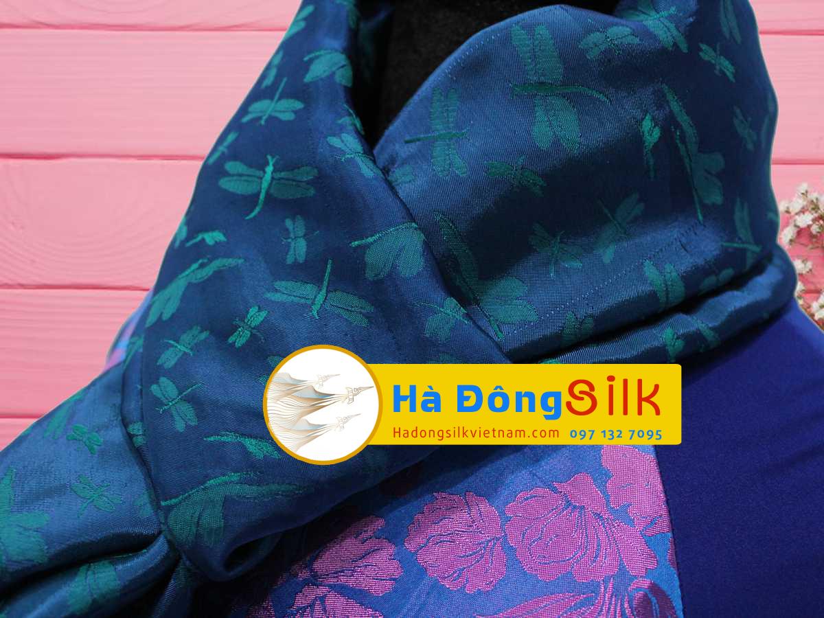 Khăn choàng cổ xanh rêu vẽ chuồn MNV-KL89