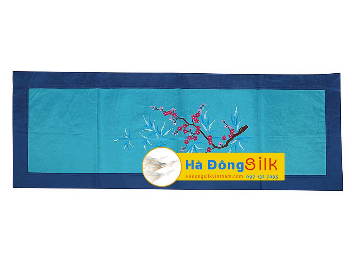 bộ khăn lụa lót bàn ăn trúc xanh ngắn